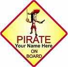 Personalised Pirate On Board Car Window Sign
