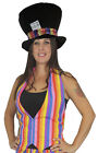 Mad Hatter Hat & Waistcoat Rainbow Gay Pride Bright Set Fancy Dress