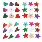100-1000pcs Mixed Wood Heart Star 2 Holes Sewing Button Scrapbooking 18-24mm
