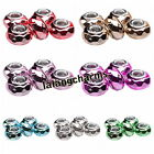 New Mixed Round Faceted Resin European Spacer Beads Charms Fit Bracelets DIY