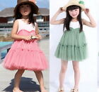 Kids Girls Baby Cotton Tulle Tutu Pompon Dress Pink&Green SZ2-6Y Summer Clothing