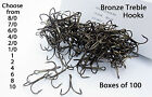 Bronze treble hooks - 12 sizes Available 6/0- 10 Buy in 10,25 or 50 hooks