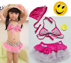 Free Shipping Girls Kids Swimsuit  Leopard 2-8Y Swimwear Bathing Clothing Bikini