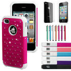 Hybrid Rugged Rubber Bling Crystal Hard Case Cover for iPhone 4 4S 4G + Gift HK