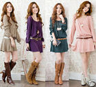 Women Lady Casual Belted Dress Scoop Neck Tunic Style Long Sleeve Pleated Skirt