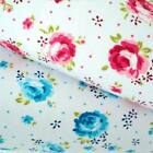 TIFFANY ROSE -  COTTAGE CHIC WHITE  FLORAL POLY COTTON FABRIC crafts pink blue