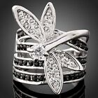 Ladies Lovely Dragonfly Austrian Crystal 18k White Gold GP Ring Ship from China