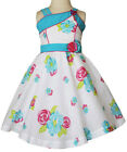 New Beautiful white dress with turquoise bands and flowers 17721