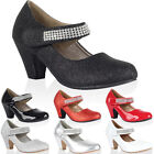 NEW GIRLS DIAMANTE STRAP KIDS BLOCK HEEL MARY JANE COURT PARTY SHOES SIZE 10-2