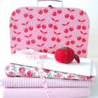FABRIC BUNDLE IN A PINK CHERRY SUITCASE chirstmas gift sewing kit KIDS dots blue