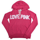Victoria's Secret Pink Hoodie V Neck Pull Over French Terry Lined Love Pink V154