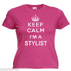 Keep Calm Stylist Ladies Lady Fit T Shirt 13 Colours Size 6 - 16