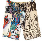 Bnwt Authentic Mens Ed Hardy Board Swim Surf Shorts Live Once Joker New