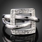 18K WHITE GOLD PLATED Hot Square Frame shape  Ring Clear Crystal Rhinestone