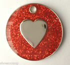 Personalised DOG CAT LOVE HEART Red Glitter Identity ID Pet Tag Engraved