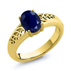1.02 Ct Oval Blue Sapphire Yellow Gold Plated Sterling Silver Ring