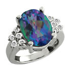 4.37 Ct Oval Millenium Blue Mystic Quartz White Sapphire Sterling Silver Ring