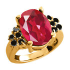 4.48 Ct Last Dance Pink Mystic Quartz Black Diamond Gold Plated Silver Ring