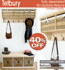 TETBURY Pine Coat Rack with Storage, Wall Shelf with hooks, Bench Available