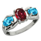 2.05 Ct Oval Ruby Red Mystic Topaz and Swiss Blue Topaz Sterling Silver Ring