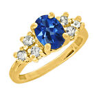 1.30 CT Oval Cut Mystic Sapphire Topaz Yellow Gold Ring