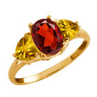 2.22 Ct Oval Red Garnet and Citrine Gold Plated Sterling Silver Ring