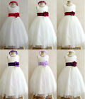IVORY BURGUNDY RED PURPLE PLUM BABY TODDLER BRIDAL PARTY GOWN FLOWER GIRL DRESS