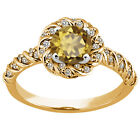1.68 Ct Round Whiskey Quartz 925 Yellow Gold Plated Silver Ring