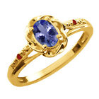 0.47 Ct Oval Blue Tanzanite Red Garnet Yellow Gold Plated Sterling Silver Ring