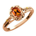 0.42 Ct Oval Orange Red Madeira Citrine Citrine Gold Plated Sterling Silver Ring