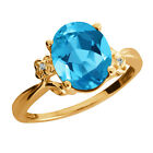 2.87 Ct Oval Swiss Blue Topaz Yellow Gold Plated Sterling Silver Ring