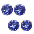 1.00 Ct AAA Round 5mm Genuine Tanzanite Solid 10K Yellow Gold Stud Earrings