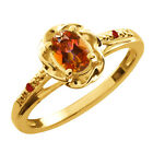 0.57 Ct Oval Ecstasy Mystic Topaz Red Garnet Gold Plated Sterling Silver Ring