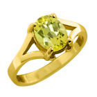 0.80 CT 7x5 Oval Canary Mystic Topaz Yellow Gold Ring