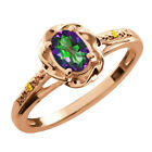 0.56 Ct Oval Green Mystic Topaz Canary Diamond Gold Plated Sterling Silver Ring