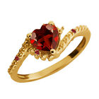 0.92 Ct Heart Shape Garnet Gold Plated 925 Silver Ring