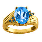 2.30 Ct Oval Swiss Blue Topaz Blue Diamond 925 Yellow Gold Plated Silver Ring