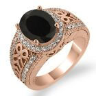 2.69 Ct Oval Black Onyx White Diamond Rose Gold Plated Sterling Silver Ring