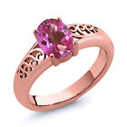 0.95 Ct Oval Pink Mystic Topaz Gold Plated Sterling Silver Ring