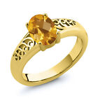 0.70 Ct Checkerboard Citrine Gold Plated Sterling Silver Ring