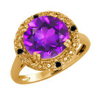 3.19 Ct Round Purple Amethyst and Diamond Gold Plated Silver Ring