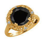 3.04 Ct Round Black Onyx and Diamond Gold Plated Sterling Silver Ring
