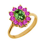 1.35 Ct Oval Green Tourmaline Pink Sapphire Gold Plated Sterling Silver Ring