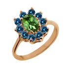 1.18 Ct Oval Green Tourmaline Blue Diamond Rose Gold Plated Sterling Silver Ring