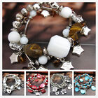 SD737-778 Coloured Glaze Gemstone Tibetan Silver Stretch Bracelet Bangle SF45678