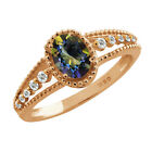 1.07 Ct Oval Blue Mystic Topaz Sapphire Gold Plated Sterling Silver Ring