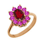 1.45 Ct Oval Ruby Red Mystic Topaz Pink Sapphire Gold Plated Silver Ring
