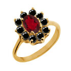 1.28 Ct Oval Ruby Red Mystic Topaz Black Diamond Gold Plated Silver Ring