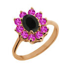 1.18 Ct Oval Black Onyx Pink Sapphire Rose Gold Plated Sterling Silver Ring