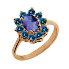 0.98 Ct Checkerboard Blue Iolite Blue Diamond Gold Plated Sterling Silver Ring